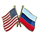 Backwoods Barnaby USA-Russia Friendship Pin/American Russian Crossed Flags Broach