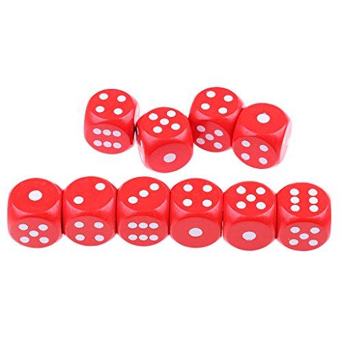 SM SunniMix 10pcs D6 20mm 6-seitige Würfel Spielwürfel für Partyspiel Brettspiel Zubehör - Rot