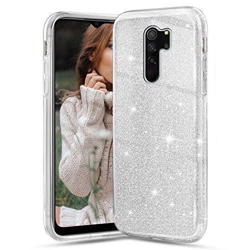 Solaxi-EU Funda para Xiaomi Redmi Note 8 Pro, Glitter Crystal Ultra Delgada Suave Silicona TPU Transparente Brillante Liquid Crystal Color Purpurina Doble Capa Anti Choques Protectora Carcasa, Plata