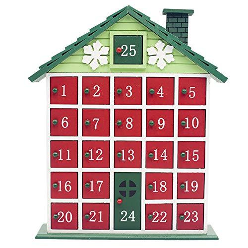 AYYSHOP Weihnachten Holzhaus Adventskalender, 24 Schubladen Weihnachten Aufbewahrungsbox Countdown-Kalender Cabin Ornament Craft Decor