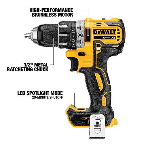 DEWALT 20V MAX XR Brushless Combo Kit, Compact 4-Tool (DCK483D2)