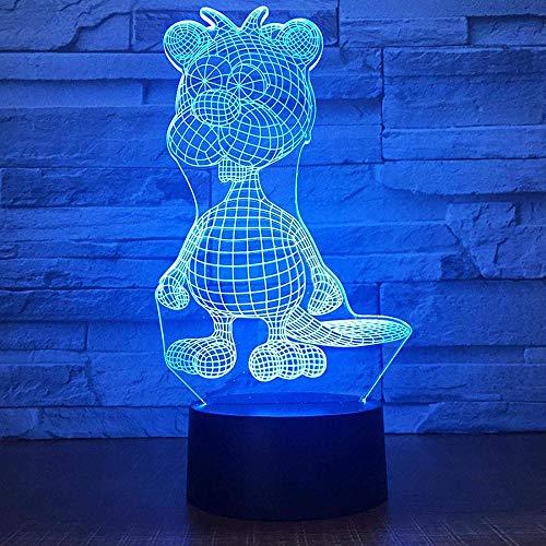 Ilusión Óptica 3D Led Luz Decoración Tabla Lámpara De Escritorio Animal 7 Colores Cambio De Botón Táctil Y Ciclismo Regalo De Cumpleaños Para Decoración De Dormitorio