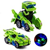 Dinosaur Transformers Car Electric Dinosaur Toys Automatic Transforming Dinosaur Car with Flashing Lights and Sound for 3-7 Years Old Boys Girls Dinosaur Vehicles Toy for Kids