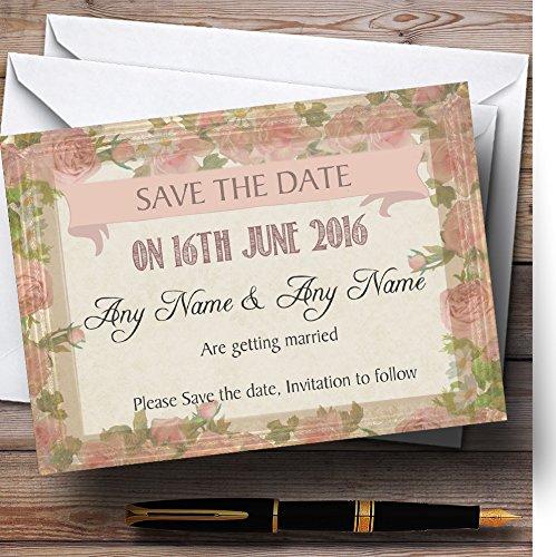 Shabby Chic Vintage Roze Rose Oude Frame Gepersonaliseerde bruiloft briefpapier Bewaar de datum kaarten
