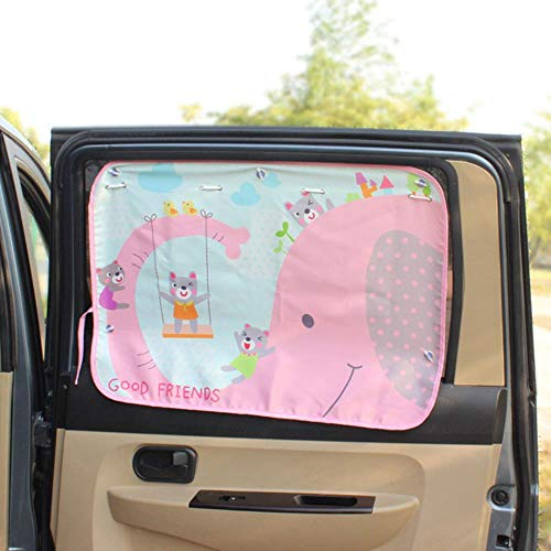 Huien Car Side Window Sunshade Cartoon Curtain zonneklep UV-bescherming Gordijn voor jongens Kids Cars Rear Side Cover, Elephant