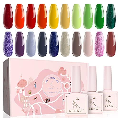 NEEKO 23 Set di smalti per unghie in gel, 20 colori con base, Kit smalto per unghie in gel con top coat lucido e opaco,Kit Nail Art Smalto Gel Glitter Rosso Nudo