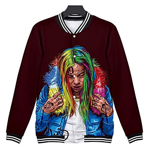 Unisex 6ix9ine 3D Baseball Jacket 6ix9ine 3D Sweatshirt 6ix9ine Hip Hop Rapper Uniforme de Beisbol Sweater