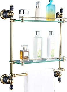 ZHAOHUI 浴室用ラック 銅 強化ガラス 主催者 耐食性 防錆剤 きれいになること容易 パンチ取り付け、 2色、 2サイズ (色 : ゴールド, サイズ さいず : 43x50cm)