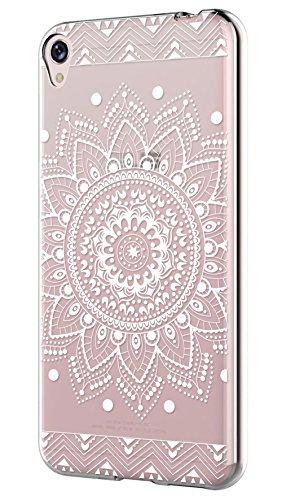 Sunrive Asus ZenFone Live ZB501KL Hülle Silikon, Transparent Handyhülle Schutzhülle Etui Hülle Backcover für Asus ZenFone Live ZB501KL(TPU Blume Weiße)+Gratis Universal Eingabestift