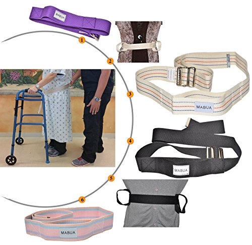 MABUA Physical Therapy Gait Belt with Metal Buckle -1 Loop Handle Beige 60', 1 Loop Handle Beige...