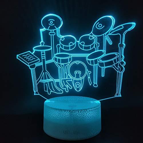 Kreative 3D Schlagzeug Nacht Licht 7 Farben Andern Sich USB Adapter Touch Schalter Dekor Lampe Optische Täuschung Lampe LED Lampe Tisch Kind Geburtstag Weihnachten Geschenke