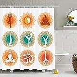 CHENHAO Cortina de Ducha Lavable Set de decoración de Yoga Diferentes Posiciones de Yoga Práctica física, Mental, Espiritual y asiática Diseño de filosofía Impermeable 200X200cm