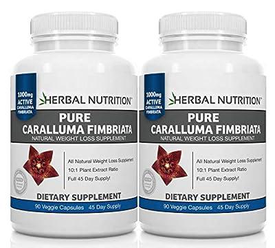 Caralluma Fimbriata Diet Supplement, Weight Loss for Women & Men, Plus Appetite Suppressant, BOGO 2 Bottle Pack, 180 Capsules, 10:1 Extract Ratio, 1000mg
