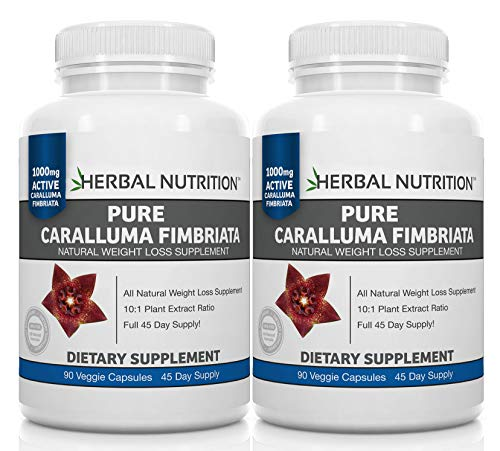 Caralluma Fimbriata Diet Supplement, Weight Loss for Women & Men, Plus Appetite Suppressant, BOGO 2 Bottle Pack, 180 Capsules, 10:1 Extract Ratio, 1000mg