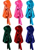 6 Pieces Stretchable Luxury Velvet Durag Cap Straps Headwraps With Long Tail And Wide Straps (Orange, Pink, Light Blue, Green, Red, Sapphire Blue)