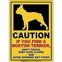 CAUTION IF YOU FIND マグネットサイン:ボストンテリア(レギュラー)イエロー 注意 DON'T TOUCH 触れない/触らない KEEP GATE CLOSED ドアを閉める 英語 防犯 アメリカンマグネットステッカー