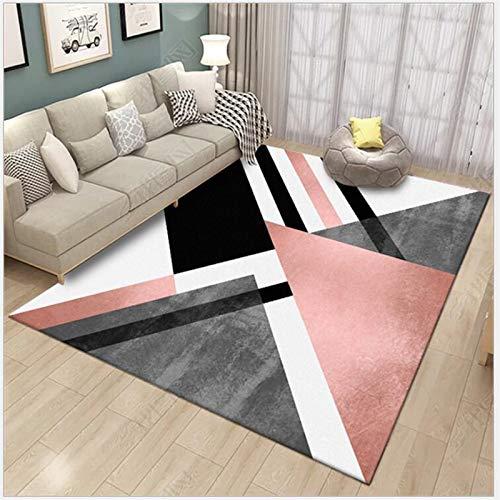 YUANMAKE tapijt voor slaapkamer, woonkamer, voetmat, poeder, metaal, zwaar, zwart, geometrie