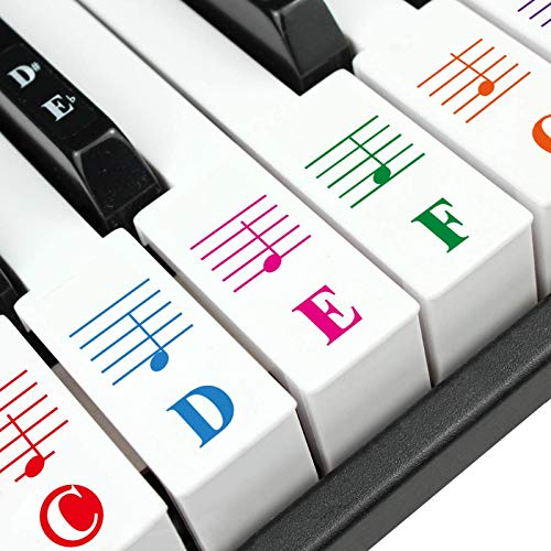 Piano Stickers, Piano Keyboard Stickers for Key, Transparent Removable Large Letter Piano Stickers Beginners Kids Learning Piano Stickers Full Set Black&White Keys for 49/61/76/88 Key Multi-Color