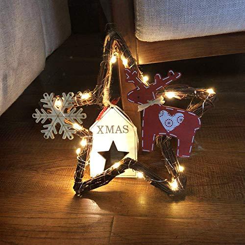 About1988 Weihnachtsdekorations Haushalts Blumen Kranz der LED Kranz Wand Tür Hängenden WeihnachtsKranz Hängt, Weihnachtsmann-Tür-Dekoration, zum Aufhängen, Künstlicher Kranz Türkranz Girlande (A)