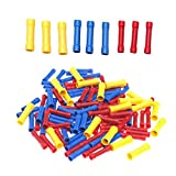 Bestgle 100pcs PVC Insulated Straight Wire Butt Splice Connectors Electrical Automotive Cable Crimp Terminals, Assorted Colors