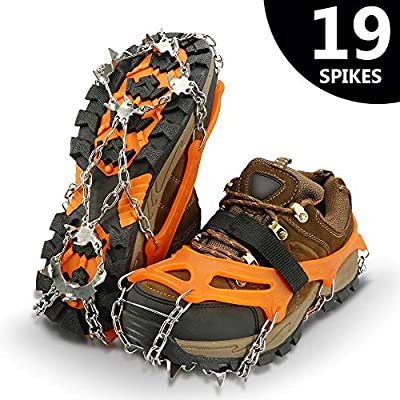 IPSXP Traction Cleats, Ice Snow Grips Crampons for Footwear with 19 Stainless Steel Spikes for Walking, Jogging, Climbing, Hiking on Snow and Ice - XL