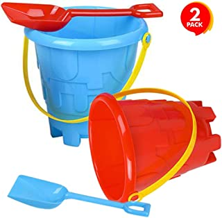 ArtCreativity 6 Inch Beach Sand Pail and Shovel Set - Includes 2 Sand Shovels and 2 Pail Buckets with a Sand Castle Design Inside - Sandcastle Building Toys, Fun Summer Sand Toys for Boys and Girls