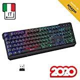 KLIM™ Chroma Tastiera Wireless Italiana - Sottile, Resistente, Ergonomica + Tastiera Gaming Retroilluminata Silenziosa e...