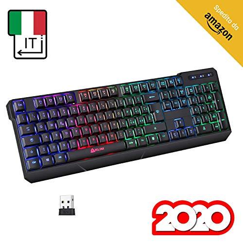 ⭐️KLIM™ Chroma Tastiera Wireless ITALIANA - Sottile, Resistente, Ergonomica + Tastiera Gaming Retroilluminata Silenziosa e Impermeabile + Tastiera PC