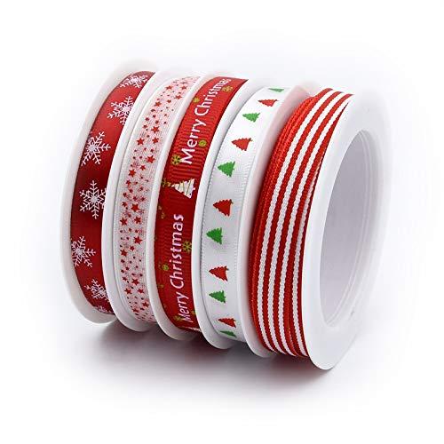 Longsing Cintas para Decoraciones Navideñas 5Rollos Navideños para Decoraciones Caja para Manualidades Navidad Caja De Regalo Clips para Cabello Bricolaje Cabello,Moda Y Bodas