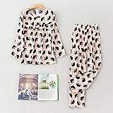 STJDM Bata de Noche,Spring Pajamas Set Women Comfortable Cotton Cartoon Printing Long Sleeve Top with Long Pant Ladies Pajamas Home Wear Set 2XL PinkCat
