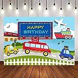 Fondo de fotografía Transporte automóvil Tren Aviones Coche camión niño cumpleaños telón de Fondo Accesorios de Estudio fotográfico A1 10x10ft / 3x3m