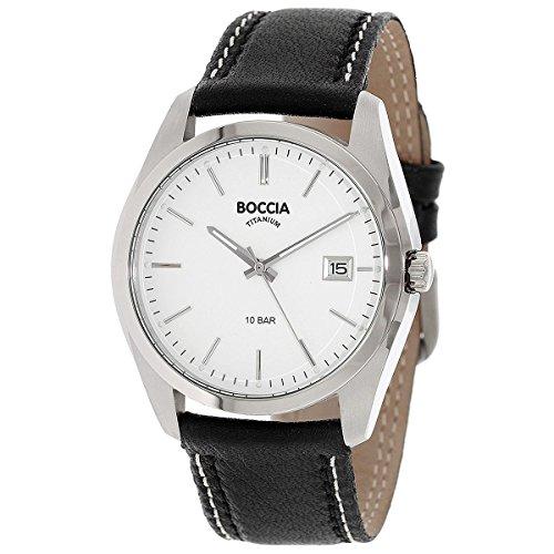 Boccia Herren Digital Quarz Uhr mit Leder Armband 3608-01