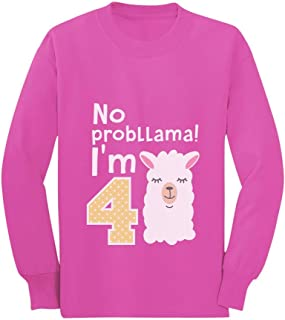 Gift for 4 Year Old No Probllama 4th Birthday Toddler/Kids Long Sleeve T-Shirt