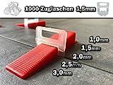 500-9000 Stück 1-3mm freie Auswahl - Das GÜNSTIGE Fliesen Nivelliersystem - Zange Keile Zuglaschen individuell zusammenstellen - frei wählbar Mega-Auswahl an Variationen (1000 Laschen, 1,5mm)