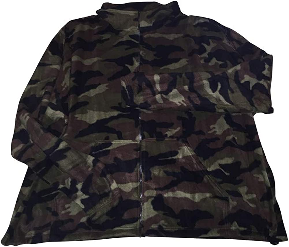 Big and Tall Camo Arctic Fleece Super Soft Full Zip Sweatshirt Jacket Made in USA