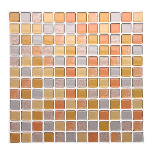 Tile & Sticker, Piastrelle Adesive con Motivo 3D in Gel a Mosaico, di Alta qualità, Accessorio Durevole di Accessori per Decorazioni Fai da Te, per Casa Camera da Letto Soggiorno Bagno(YJC0014)