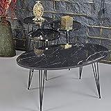 Set mit Salontisch und 3 Beistelltischen Metallbeine und Marmor-Design Stilvolles und luxuriöses Tischset Einfacher Zusammenbau mithilfe der Aufbauanleitung (evtl. nicht in deutscher Salon-Tisch: 90 x 50 x 42 cm Beistelltische: 39 x 39 x 54 cm