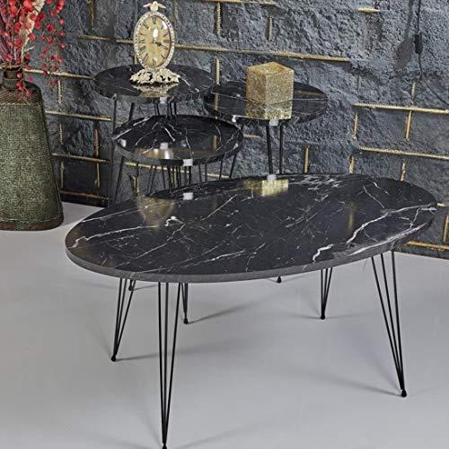 Derin Salontisch Set | Marmoroptik | 4er Set | Schwarz | Luxus Design | Gold | Marmor Salon-Tische | Sofatisch oval | Wohnzimmertisch | Gold | Couchtisch | Salontable