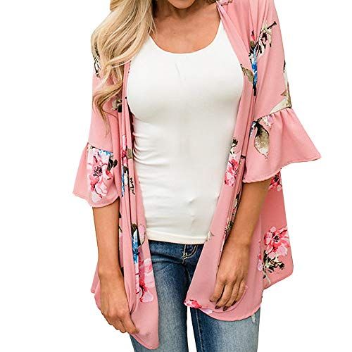 ESAILQ Mode Damen Chiffon Schal Print Kimono Cardigan Cover Up Bluse Beachwear(S,Rosa)