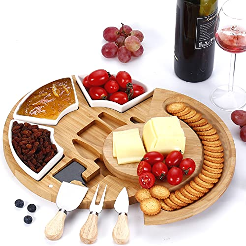Bamboo Cheese Board Set with 3 Cheese Knives and 3 Ceramic Bowls, Charcuterie Tray Double-Layer Circular Rotatable Wooden Tray, Suitable for Family and Parties, Diameter 33cm