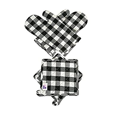 Oven Mitts & Pot Holders Checkered Black & White 4 pcs