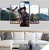 ZKPWLHS Gemälde Moderne Kunst Maleinheiten 5 Stück Game The Witcher 3 Wild Hunt Bild Auf Leinwand Drucken Poster Wand Dekorative Schlafzimmer Einzigartige Kunst Kein Rahmen Gemälde
