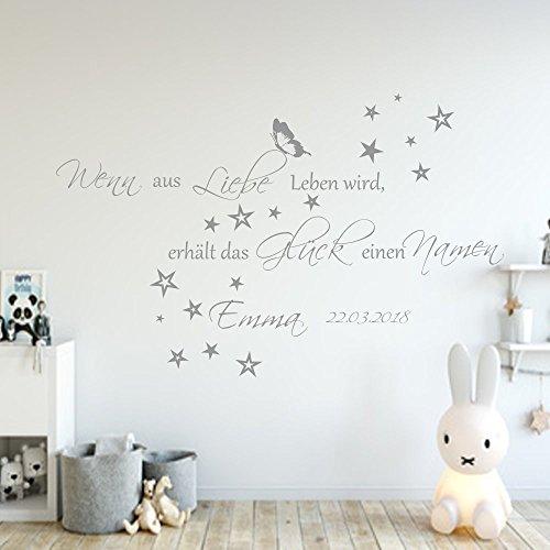 Wandschnörkel® Wandtattoo Wenn aus Liebe Leben wird. mit NAMEN und Datum Spruch Wandaufkleber AA136 Wand Spruch Kinderzimmer Baby Mädchen Jungen Namen Türaufkleber, personalisiert