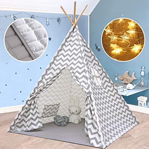 Tipi Enfant avec Tapis rembourré & Lumières- Grande Maison de Jeu Pliable Solides intérieure extérieure- 100% Toile en Coton Tente...