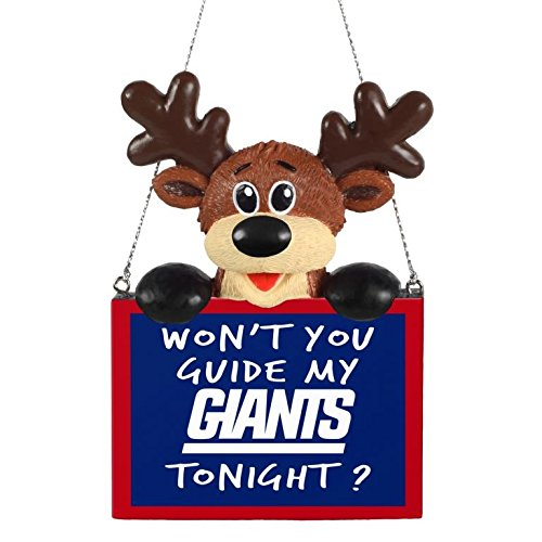 FOCO NFL New York Giants Reindeer with Sign Hanging Tree Holiday OrnamentReindeer with Sign Hanging Tree Holiday Ornament, Team Color, One Size