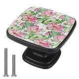 Perillas de gabinete Perilla de cajón Manijas de puerta Tirador de tocador 4 piezas Armario para cocina Hermosas flores de loto Patrón sin costuras Hoja de estanque