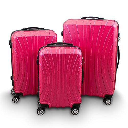 BERWIN Kofferset 3-teilig Reisekoffer Trolley Hartschalenkoffer ABS Teleskopgriff Modell Strike 2018 (Pink)