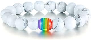 Handmade LGBT Rainbow Pride Relationship Bracelet Lava Rock Tiger Eye Stone Bead Bracelet for Lesbian Gay
