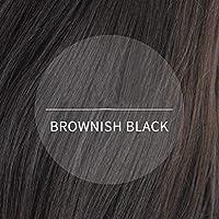 かつら、女性の長いストレートヘアーリペアフェイスフル鎖骨ヘアーウィッグ (色 : Brownish black)