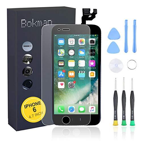 bokman Vormontiertes Display Reparaturset kompatibel mit Schwarz iPhone 6, Inklusive FaceTime-Kamera, Home Button, Mikrofon, Lautsprecher und Näherungssensor, Passendes Profi-Werkzeugset enthalten